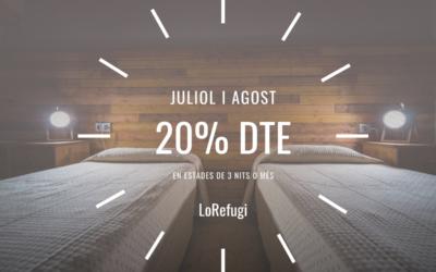 20% DE DESCOMPTE JULIOL I AGOST 2021